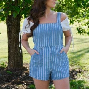 NWT Minkpink Draw the Line Denim Romper